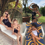 loomrack Mother/Daughter Matching Silly Cat Swimsuits Family Matching Outfits