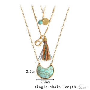loomrack Multilayer Bohemian Tassel and Stone Necklace Set Pendant Necklaces