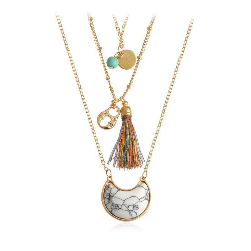 loomrack Multilayer Bohemian Tassel and Stone Necklace Set Pendant Necklaces White