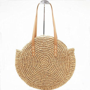 loomrack Natural Hand-Woven Straw Tote Bag Top-Handle Bags Brown