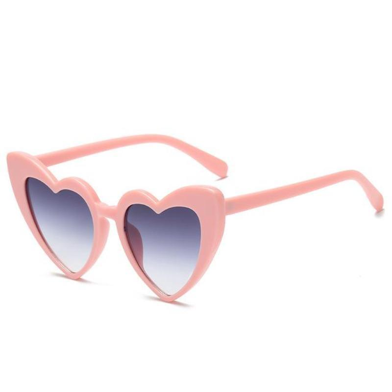 loomrack Pointed Cat Eye Heart Sunglasses Sunglasses pink frame grey