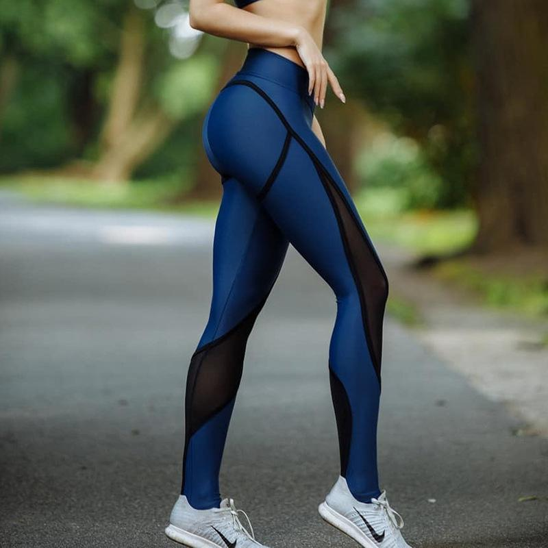 loomrack Push Up High Waist Blue Black Mesh Leggings Leggings