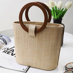 loomrack Rattan Handbag with Wooden Handles Shoulder Bags Khaki