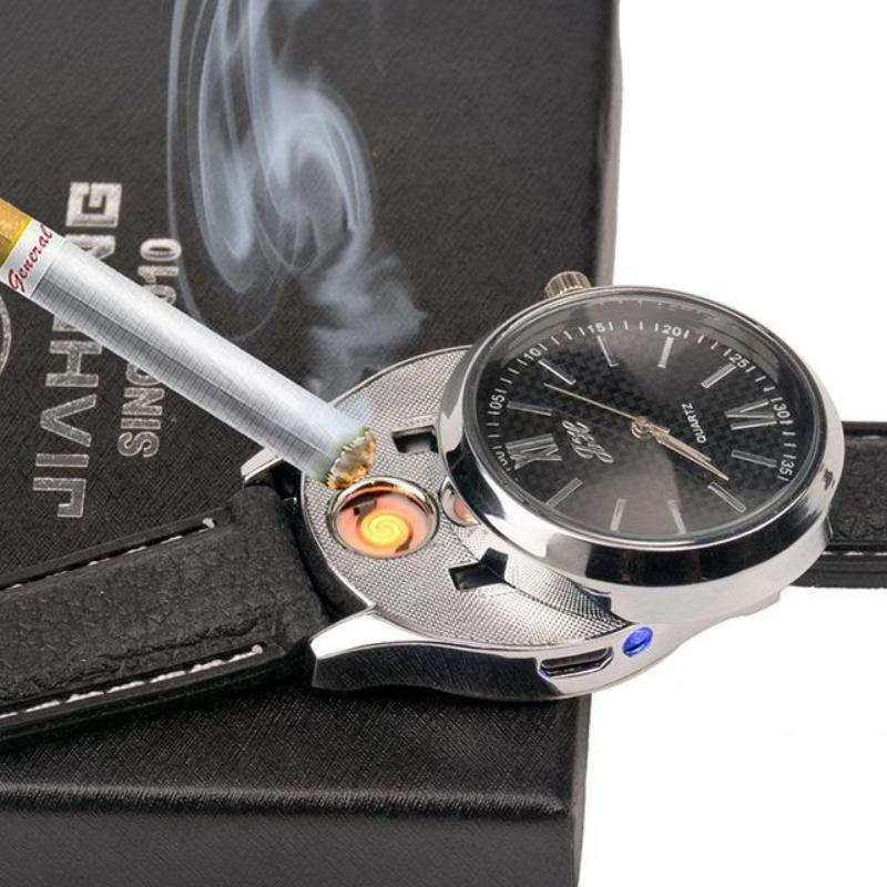 loomrack Rechargeable USB Lighter Watch Quartz Watches Black Silver