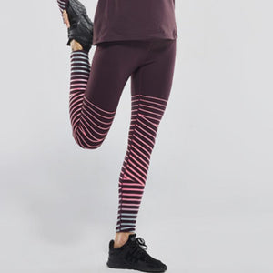 loomrack Reflective Whimsical Stripe Leggings Leggings wine red / S