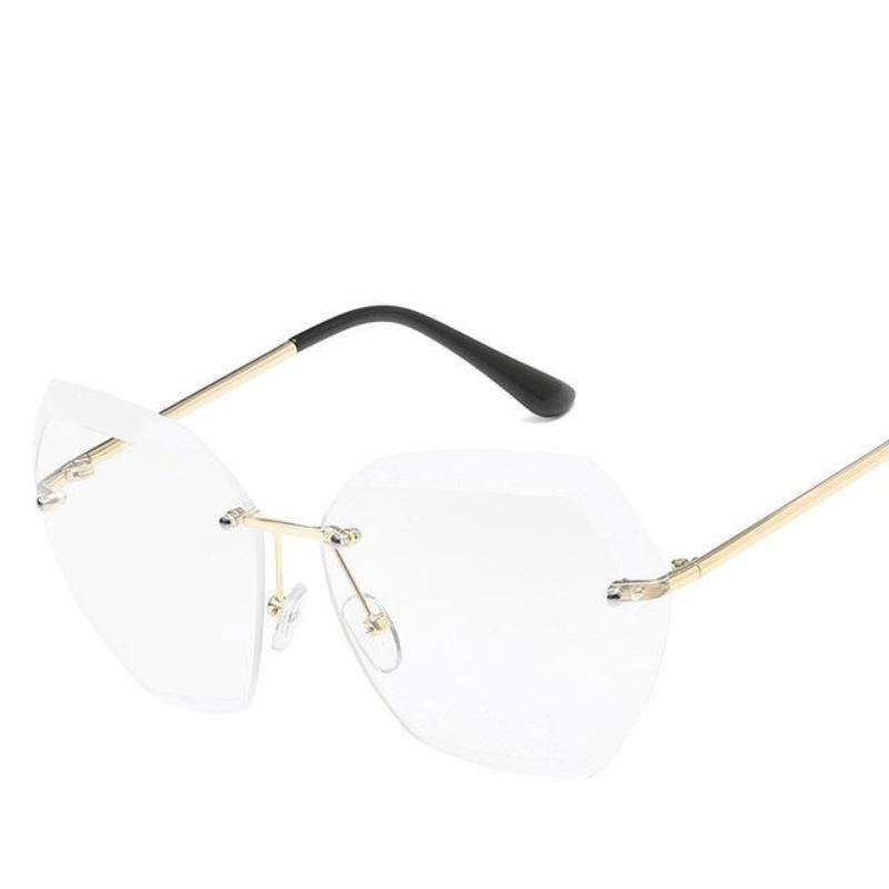 loomrack Retro Rimless Dimensional Sunglasses Sunglasses Gold F Flat mirror