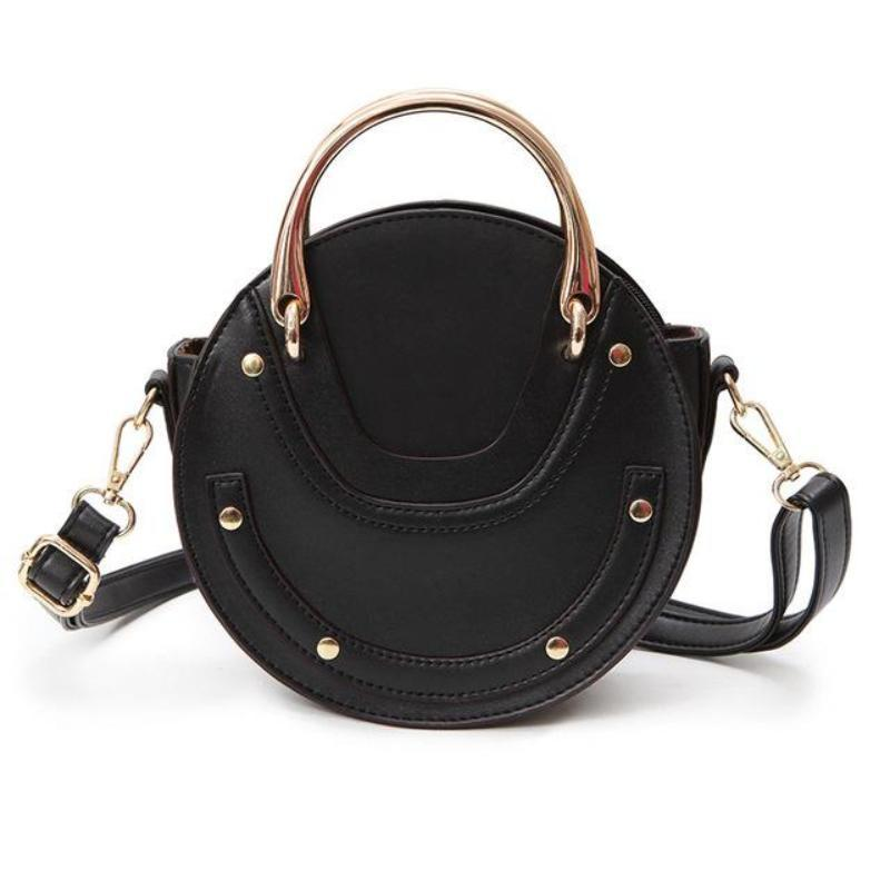 loomrack Retro Round Top Handle Purse Shoulder Bags Black