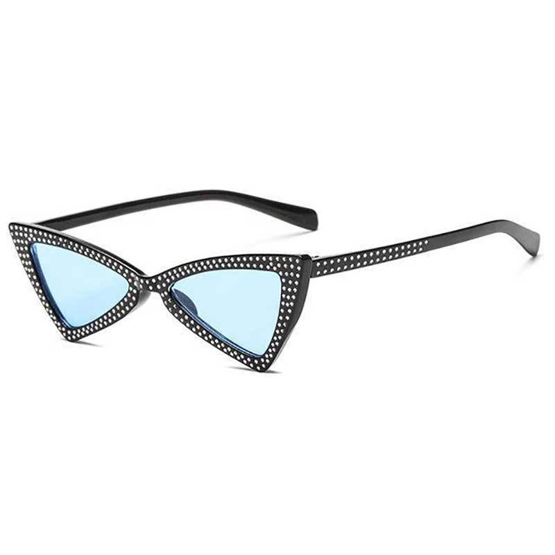 loomrack Rhinestone Triangle Cat Eye Sunglasses Sunglasses clear blue