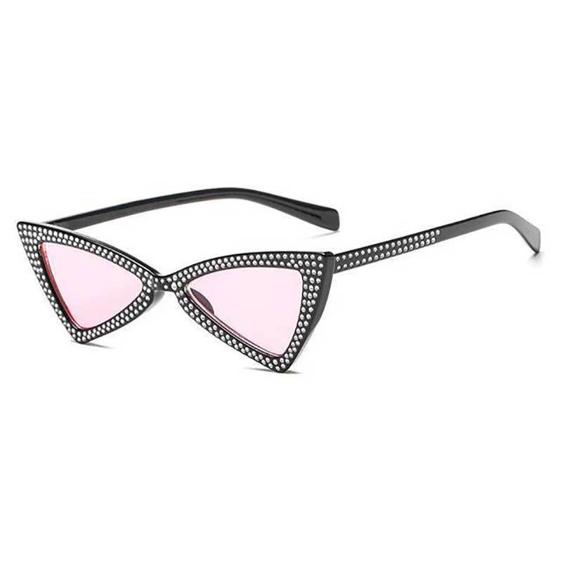loomrack Rhinestone Triangle Cat Eye Sunglasses Sunglasses clear pink