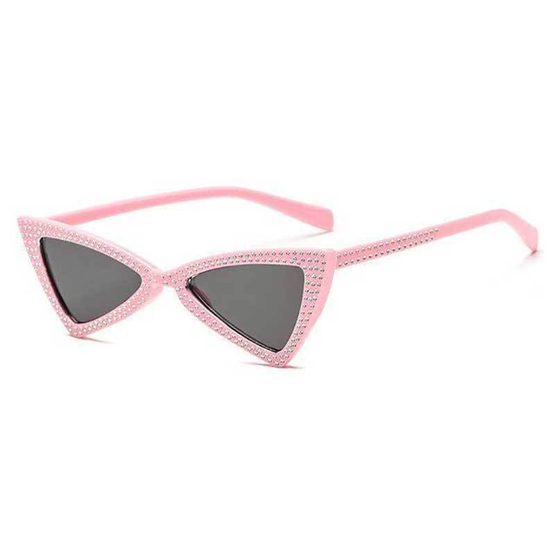 loomrack Rhinestone Triangle Cat Eye Sunglasses Sunglasses pink