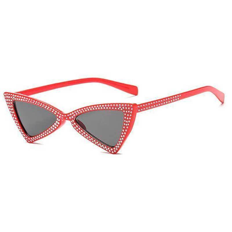 loomrack Rhinestone Triangle Cat Eye Sunglasses Sunglasses red