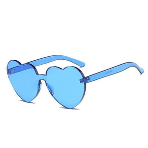 loomrack Rimless Heart Shaped Sunglasses Sunglasses Blue
