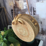 loomrack Round Hand Woven Rattan Bag Shoulder Bags