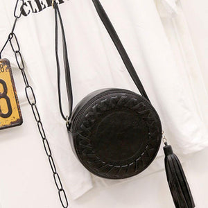 loomrack Round Woven Crossbody Bag Cross Body Bags Black
