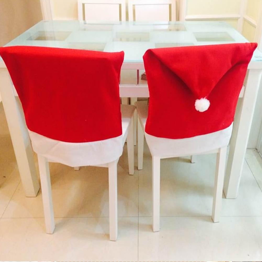 loomrack Santa Claus Red Hat Chair Back Covers - 2 to 6 Piece Sets Christmas Accessories