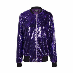 loomrack Sequin Bomber Jacket Jackets Purple / S