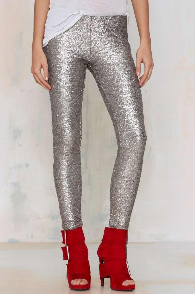 loomrack Sequin Leggings Leggings Silver / S