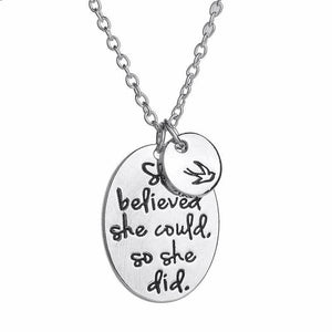 loomrack She Believed She Could so She Did Necklace with Bird Pendant Pendant Necklaces
