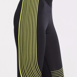 loomrack Spiral Reflective Compression Leggings Running Tights BLACK YELLOW / S