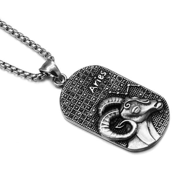 Men S Stainless Steel Pisces Zodiac Dog Tag Pendant: Stainless Steel Zodiac Necklace