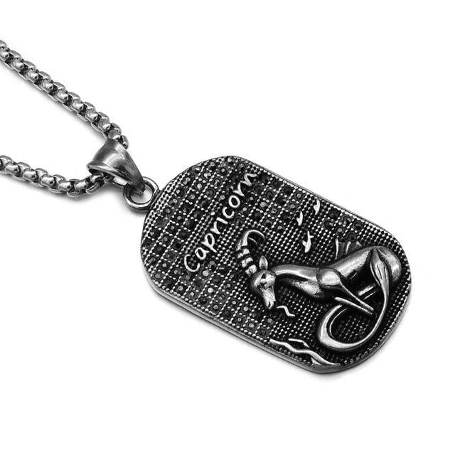 loomrack Stainless Steel Zodiac Necklace Pendant Necklaces CAPRICORN
