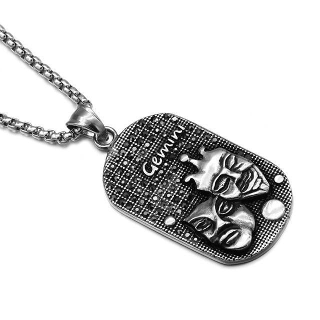loomrack Stainless Steel Zodiac Necklace Pendant Necklaces GEMINI
