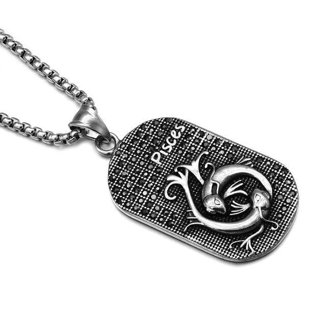 loomrack Stainless Steel Zodiac Necklace Pendant Necklaces PISCES