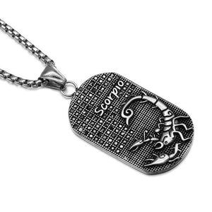 loomrack Stainless Steel Zodiac Necklace Pendant Necklaces SCORPIO