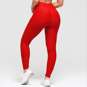 loomrack Super High Waist Textured Leggings Leggings Red / S