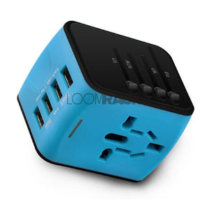loomrack The Best Universal Travel Adapter for International Jet-Setters Travel Accessories Blue 4-USB