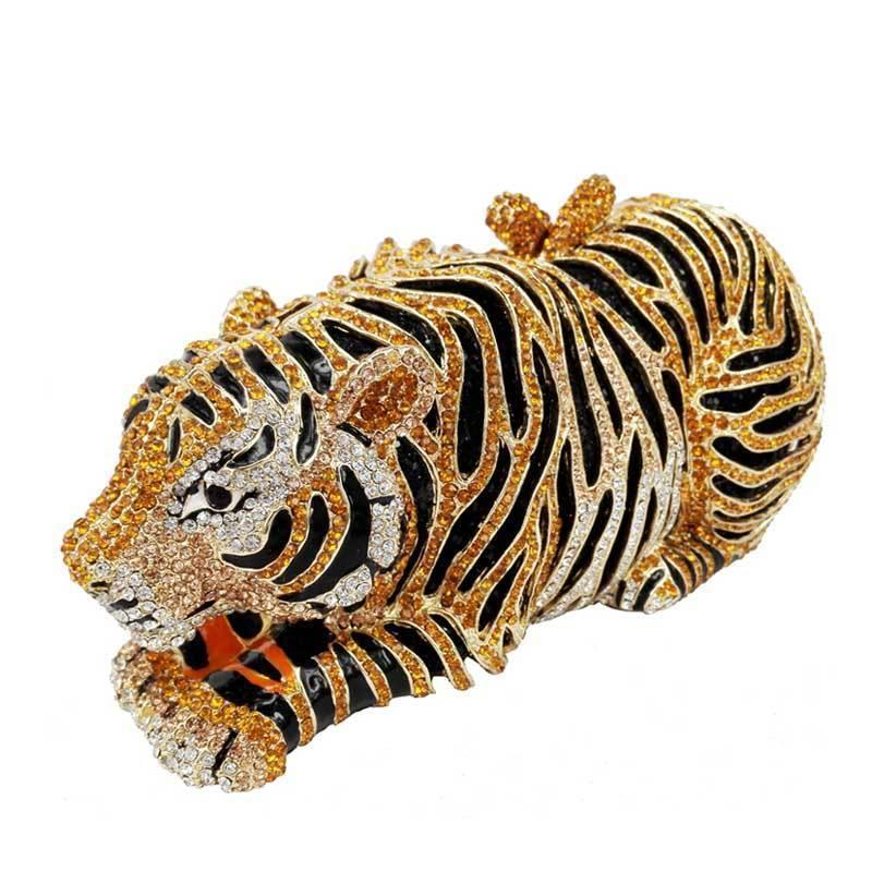 loomrack Tiger Crystal Evening Clutch Evening Bags Gold