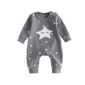 loomrack Twinkle Twinkle Little Star Moon Romper Rompers Grey / 3M
