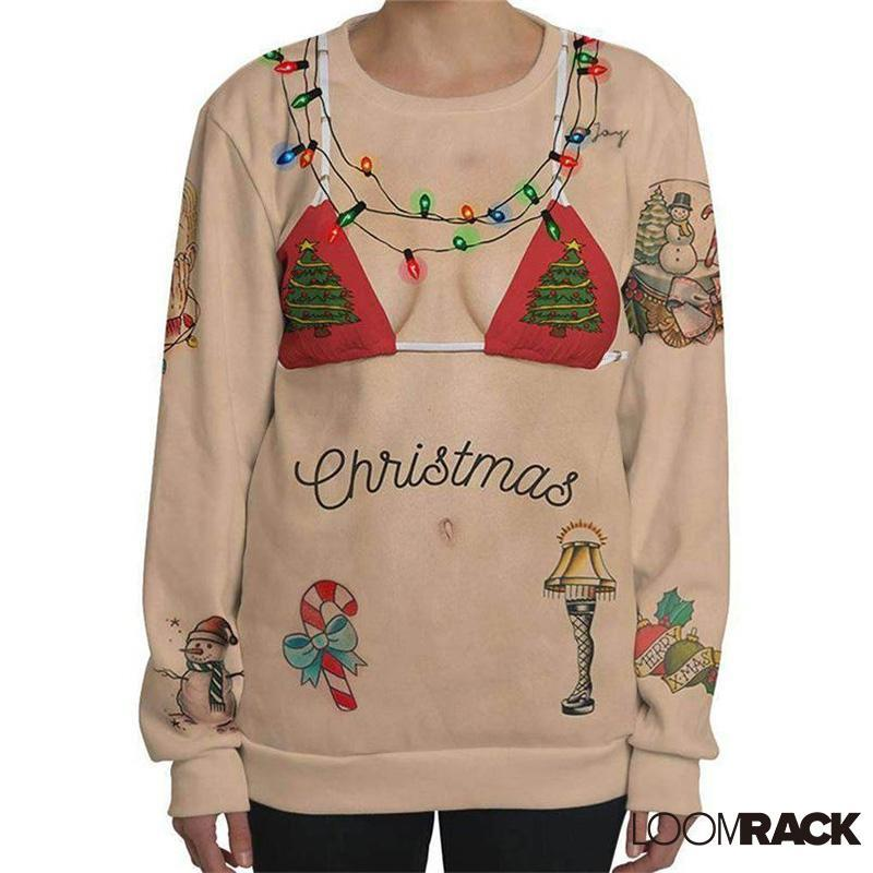 loomrack Ugly Christmas Sweater - Bikini Sweatshirt Christmas Ugly Sweaters