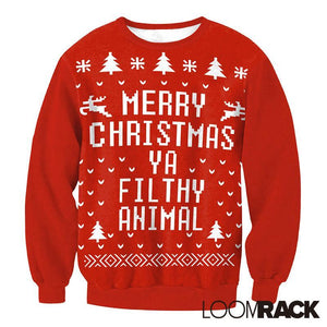 loomrack Ugly Christmas Sweater - Merry Christmas Ya Filthy Animal Pullover Christmas Ugly Sweaters