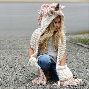 loomrack Unicorn Winter Hat Scarf Wrap With Hand Pockets Baby Accessories