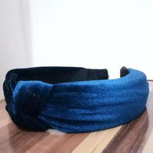 loomrack Velvet Knotted Twist Headband Hair Accessories Navy Blue