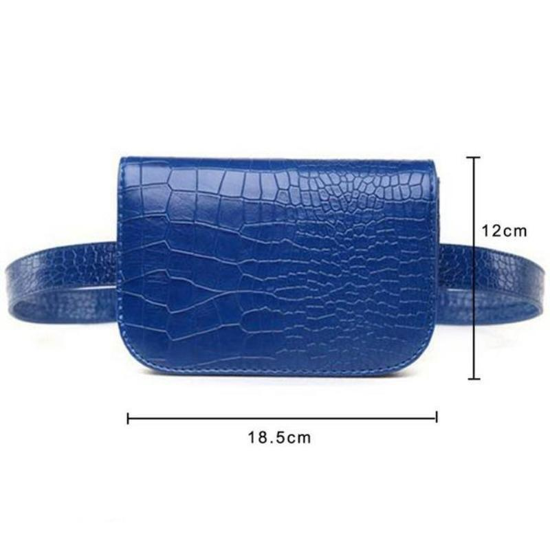 loomrack Vintage Alligator PU Leather Belt Fanny Pack Novelty Bags Blue Big