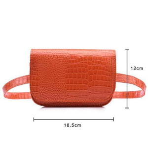 loomrack Vintage Alligator PU Leather Belt Fanny Pack Novelty Bags Orange Big