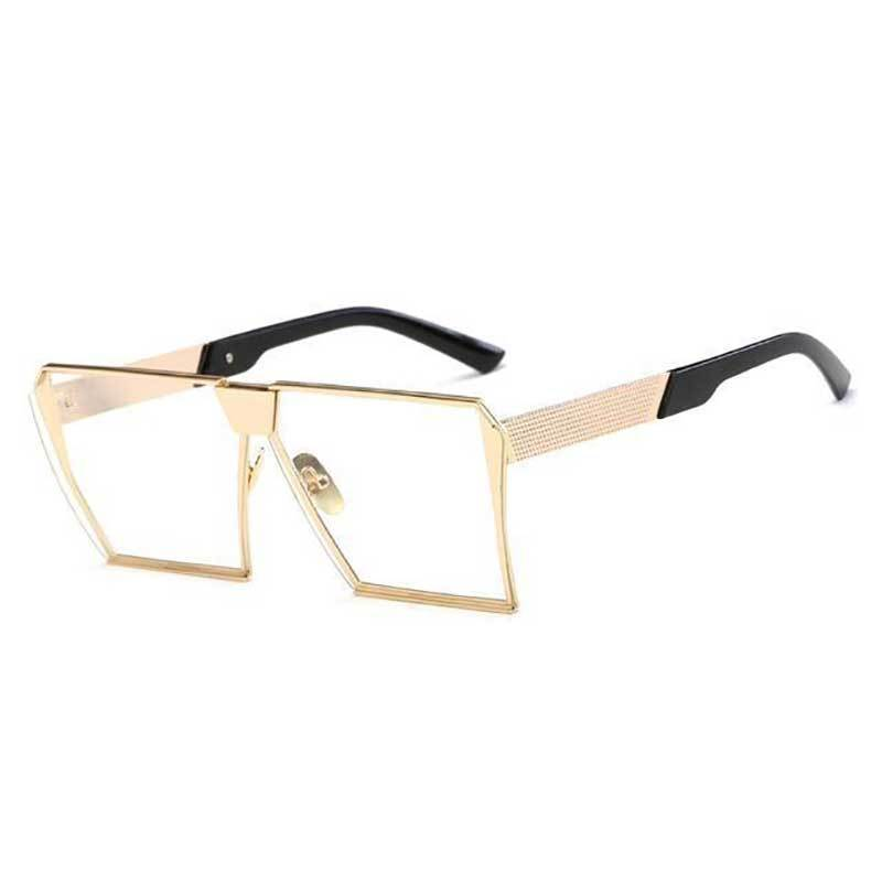 loomrack Vintage Oversized Square Mirror Sunglasses Sunglasses Gold Clear