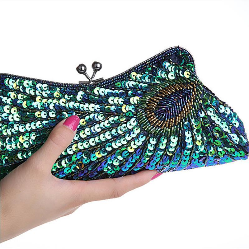 loomrack Vintage Peacock Sequin Evening Bag Evening Bags