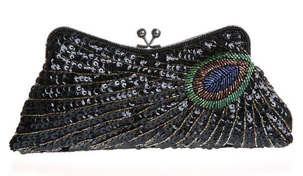 loomrack Vintage Peacock Sequin Evening Bag Evening Bags Black
