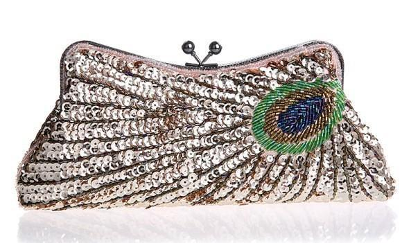 loomrack Vintage Peacock Sequin Evening Bag Evening Bags Champagne