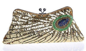 loomrack Vintage Peacock Sequin Evening Bag Evening Bags Gold
