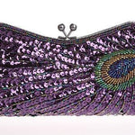 loomrack Vintage Peacock Sequin Evening Bag Evening Bags Purple