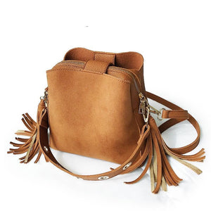 loomrack Vintage Tassel Adorned Bucket Crossbody Messenger Bag Shoulder Bags