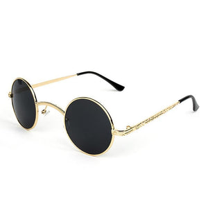 loomrack Vintage Ultra-Micro Round Frame Sunglasses Sunglasses Gold Grey