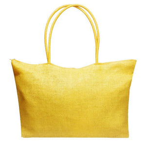 loomrack Women's Woven Straw Tote Bag - Perfect for the Beach! Shoulder Bags Light Yellow