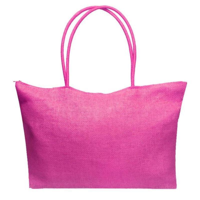 loomrack Women's Woven Straw Tote Bag - Perfect for the Beach! Shoulder Bags Pink