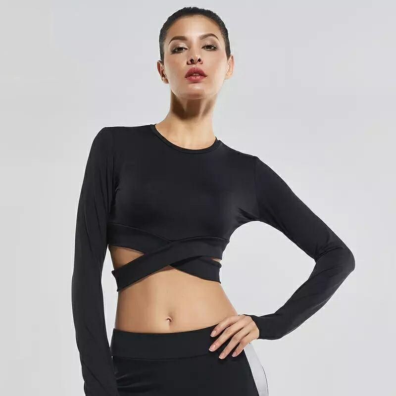 loomrack Yoga Long Sleeve Criss Cross Crop Top Yoga Shirts
