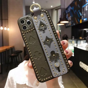 Luxury 3D Monogram Phone Case with Hand Strap Holder Phone Accessories Loom Rack Green Gray For iPhone X
